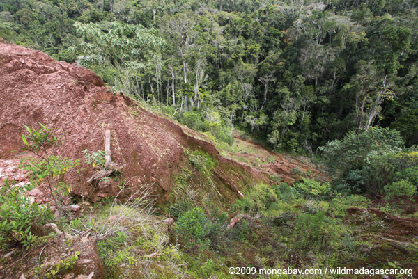 Damage from a graphite mine near Mantandia