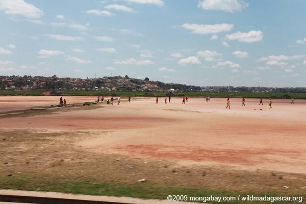 Playing football in Tana