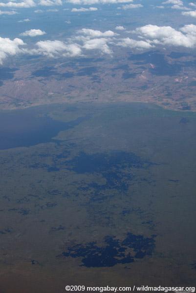 Aerial view of Lake Alaotra