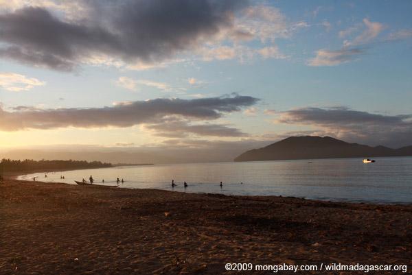 Villagers fishing at daybreak on a beach near Maroantsetra