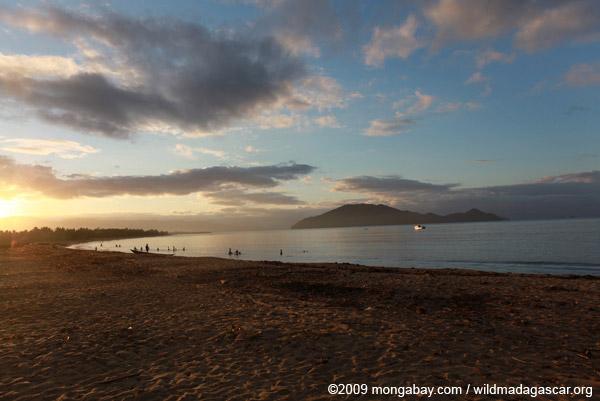 Villagers fishing at sunrise on a beach near Maroantsetra