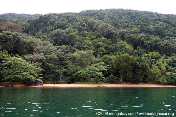 Beach landing and campsite on Nosy Mangabe
