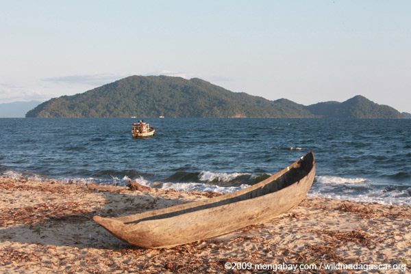 Pirogue and fishing boat in the Bay of Antongil