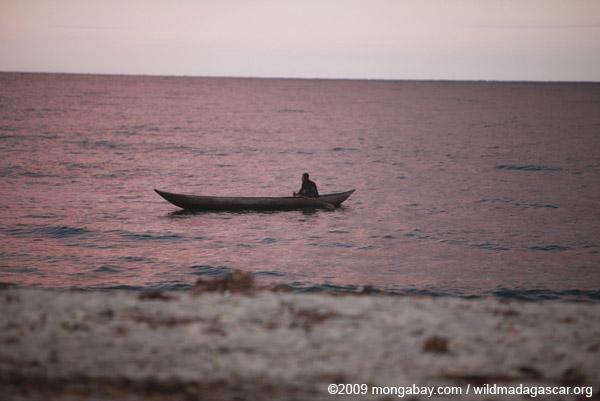 Fisherman on the Bay on Antongil at daybreak