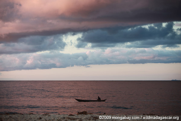 Fisherman on the Bay on Antongil at dawn