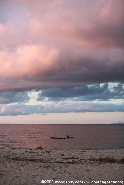 Fisherman on the Bay on Antongil at sunrise