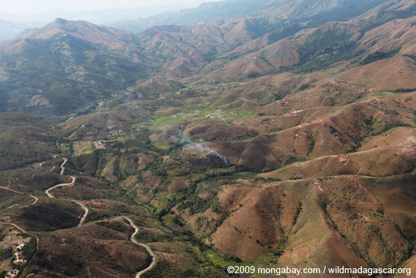 Aerial view of the road to Berenty, cleared hillsides in southern Madagascar