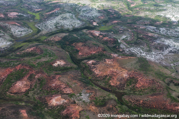 Aerial view of erosion in southern Madagascar