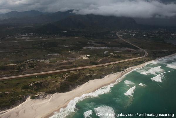 Aerial view of a beach near Ft. Dauphin