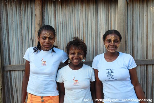 Malagasy girls with painted faces