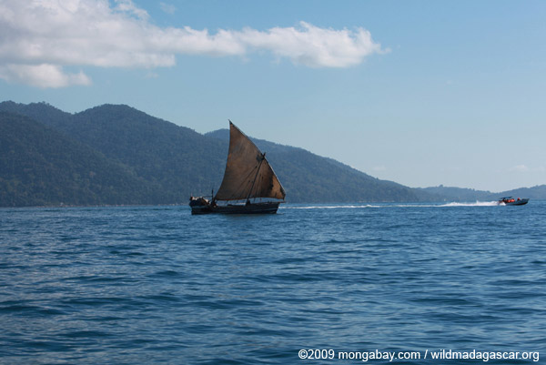 Sailboat versus speedboat in Madagascar