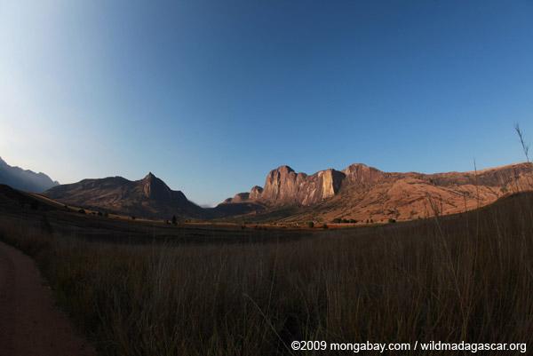 Fish-eye photo of Tsaranoro Mountain