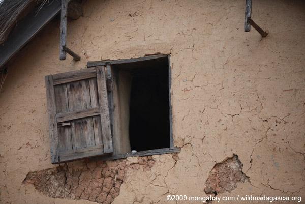 Window in an adobe home in Madagascar