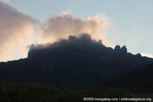 Fog-shrouded rock outcropping in the Antanifotsy Valley