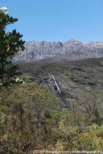 Riambavy and Riandahy waterfalls, components of Zamandao falls, in Andringitra