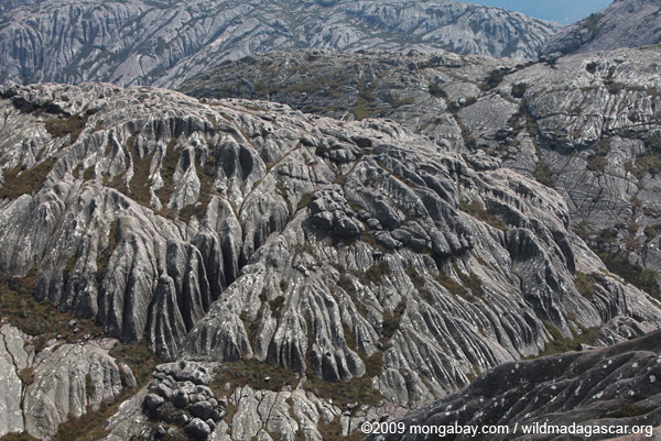 View of grooved granite valleys from atop Pic Boby