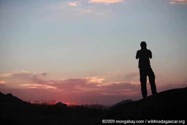 Photographer at sunset in Andringitra