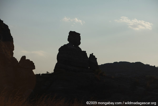 Queen of Isalo, a rock formation like profile of a sitting queen