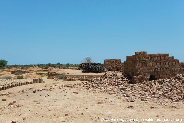 Brick-making near Tulear