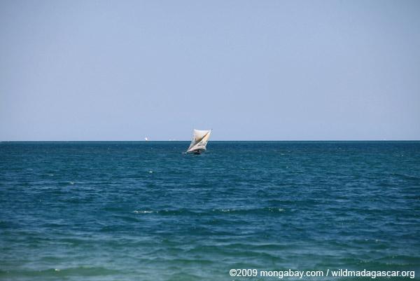 Vezo fishing pirogue at sea