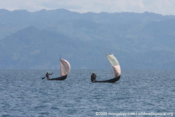 Fishermen sailing their pirogues in Madagascar's Antongil Bay