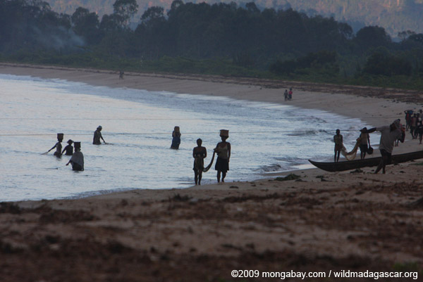 Morning beach activity near Maroantsetra