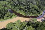 The impact of deforestation seen on a rainforest river in Borneo -- sabah_aerial_1532