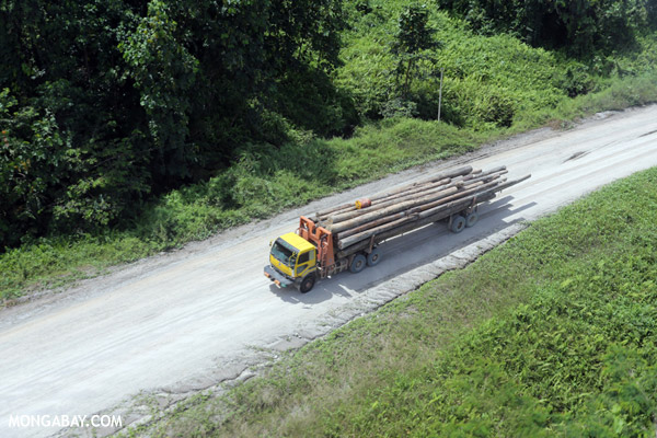 Logging truck in the rainforests of Borneo. Photo by: Rhett A. Butler.